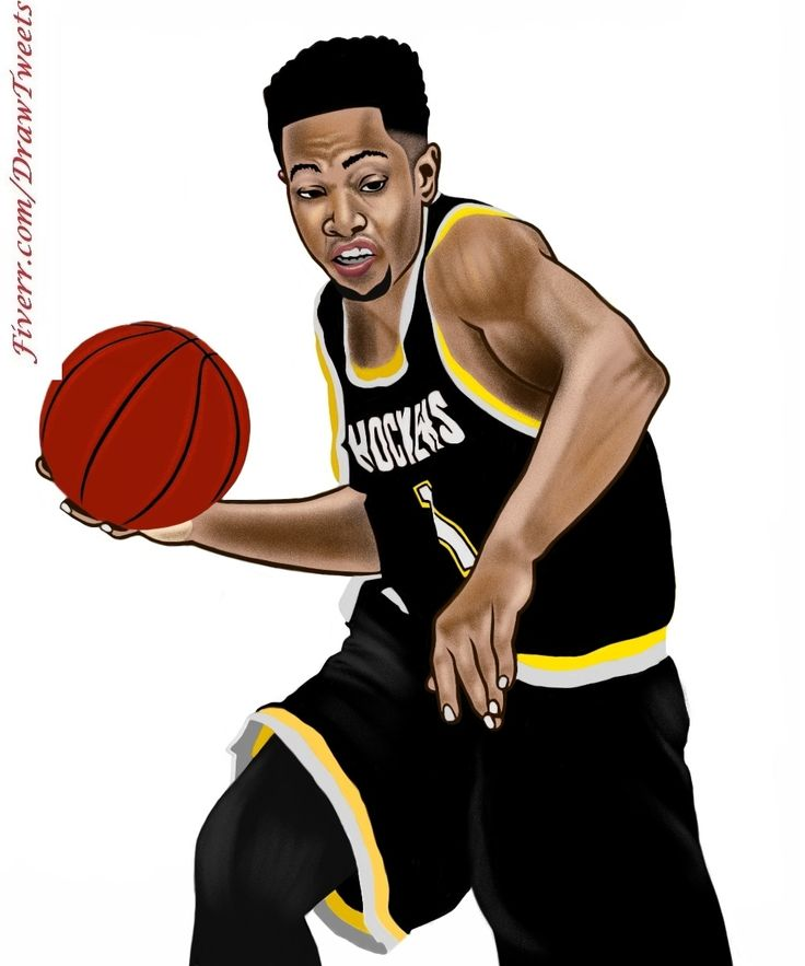 Handsome Basketball Players on the Strike - An art piece inspired by Marlandlowe in I will hand draw cartoon avatar from your photo gig on Fiverr.com/DrawTweets. Let us draw YOU on Fiverr.com/DrawTweets #Handsome #BasketballPlayers #ontheStrike #Caricature #Art #Drawing