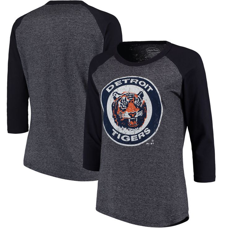 Women's Detroit Tigers Majestic Threads Navy Cooperstown Collection Raglan Three-Quarter Sleeve T-Shirt