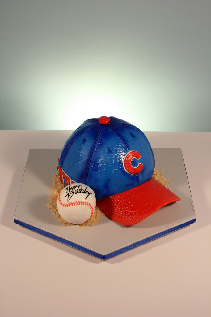 Chicago Cubs baseball hat birthday cake