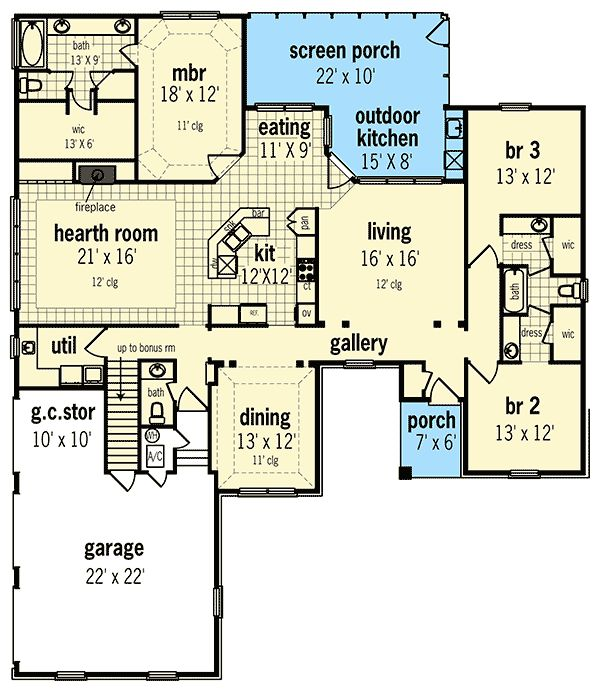 Two Exteriors to Choose From - 55134BR | 1st Floor Master Suite, Bonus Room, CAD Available, Corner Lot, Country, Craftsman, Jack