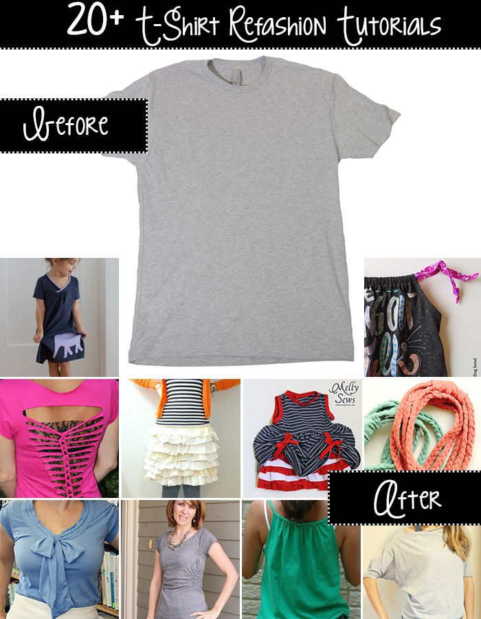 20+ t-shirt refashion tutorials! I have a ton of old tees that are just taking up space in my drawers! It would be awesome to do some of these with them!!