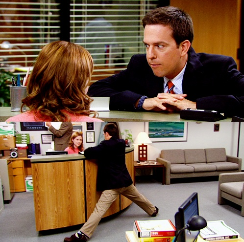Andy 'I've moonwalked past accounting like a dozen times.'  Pam 'I can't believe that didn't work...'  Later in a talking head Pam says... 'Now that I think of it, Angela and Andy might just make a good couple.  But I can't do that to Dwight.  Or Angela.  Or Andy!'