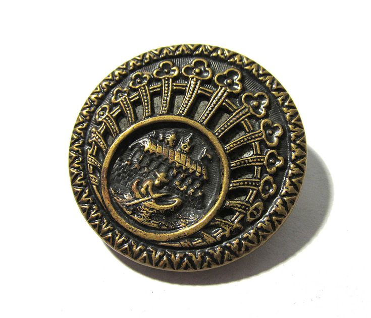 """Victorian Mirror Back Twinkle BUTTON One (1) Pierced Mirror Back Gondola 1 1/4"""" Button Antique Jewelry Sewing Supplies (A187) by punksrus on Etsy"""