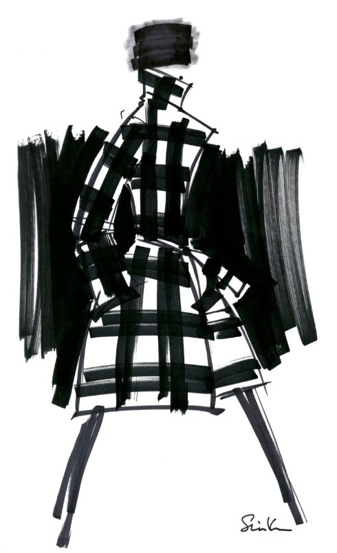 Monochrome Fashion Sketch with cool use of mark making to render woven fabric pattern; fashion illustration