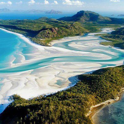 Whitehaven Beach, Australia    Chcesz zobaczyć to na żywo? Na www.australia.info.pl znajdziesz aktualne oferty wyjazdów, a także zarezerwujesz hotel, willę lub bilety lotnicze.