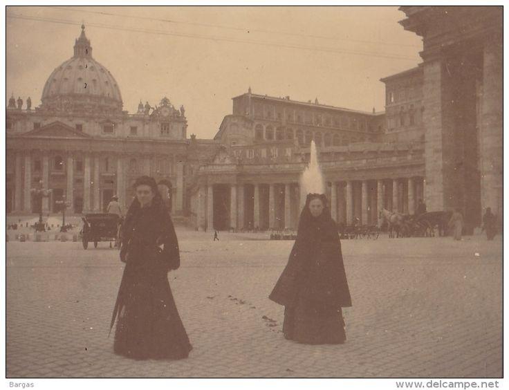 Photo Ancienne 1904 Place Saint Pierre à  Rome Italie