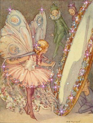 Fairies. Looks familiar like it's from an old book, artist?                                                                                                                                                      More