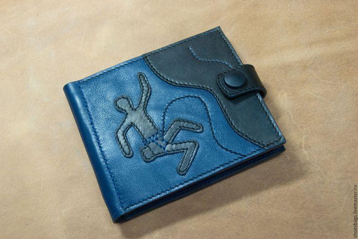 Купить Зажим для денег CLIMBER - тёмно-синий, кошелек мужской кожаный, кошелек мужской