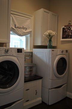 LAUNDRY ROOM – Another great design idea for a well-functioning laundry room. Transitional Kitchen in Maple Dove White & Cardinal traditional laundry room richmond Reico Kitchen & Bath