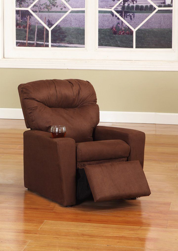 Kings Brand Furniture Microfiber Kids Recliner Chair with Cup Holder, Dark Brown