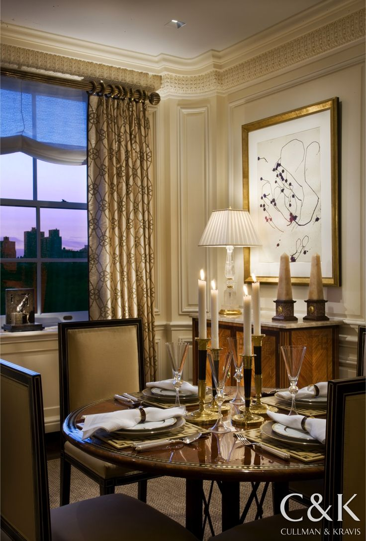 Smart Looking Pair Of Mixed Marble Obelisks On The Console Table In This Fifth Avenue Pied A Terre Dining Room Designed By Cullman Kravis