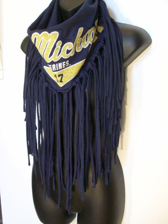 U of M scarf infinity University of Michigan wolverine by LamaLuz, $35.00