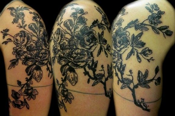 etched looking antique flower tattoo | Hair, tattoos and ...