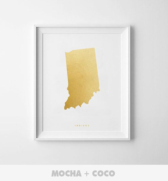 Indiana Gold Map Print US State PosterState Map by MochaAndCoco