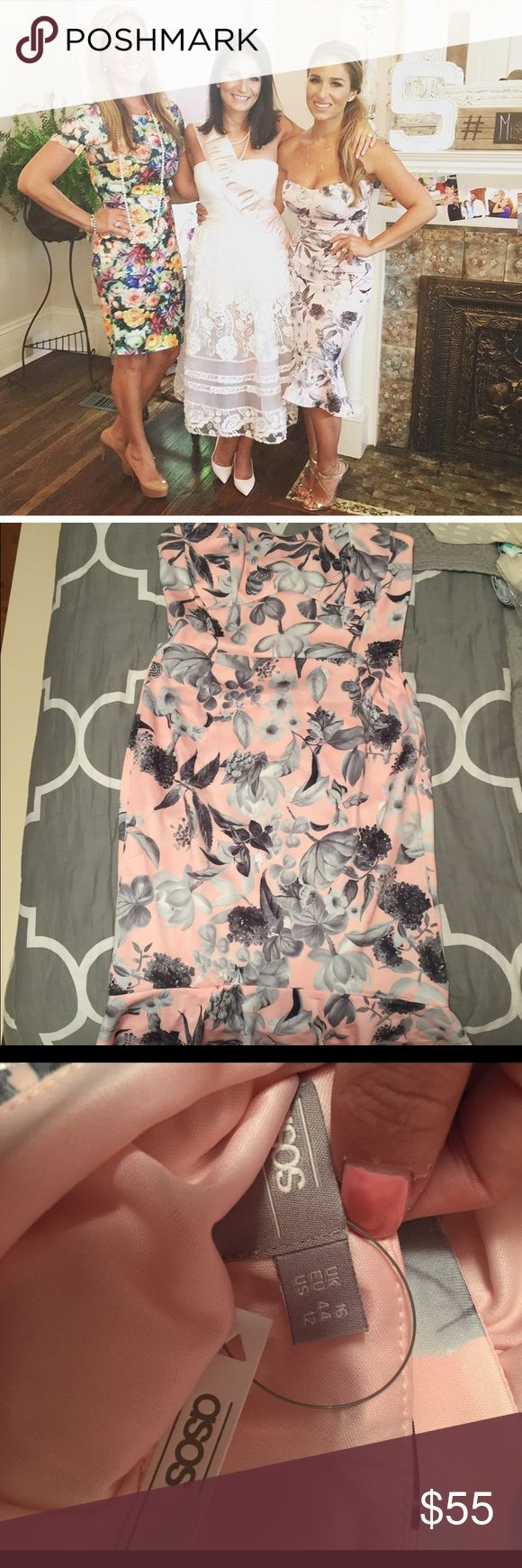 Floral peplum dress ASO Jessie James Decker NWT Brand new, never worn with all tags and original packaging. Gorgeous ASOS pink and gray strapless floral peplum midi dress as seen on Jessie James Decker. Perfect dress for various events with spring right around the corner! Wish I could wear this myself, but it is too big on me and I forgot to return it in time to get credit back! Can very easily be altered if you take to a tailor! Reasonable offers accepted via offer button, always ships same…
