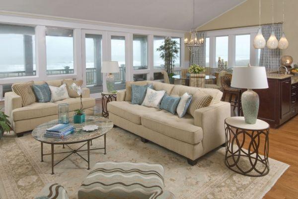 I love the feeling of a beach house themed inspired living room