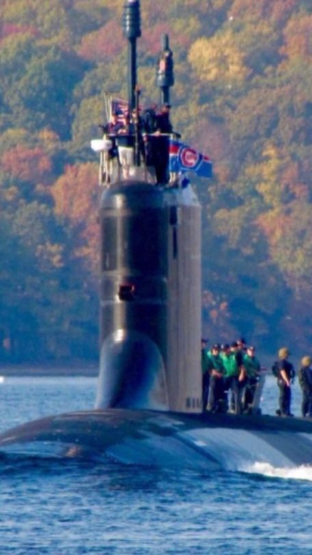 USS Illinois flying the Chicago Cubies flag just before game 7 of the World Series BravoZulu skipper!