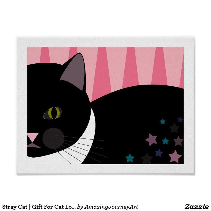 Stray Cat   Gift For Cat Lover   Black & Pink Art