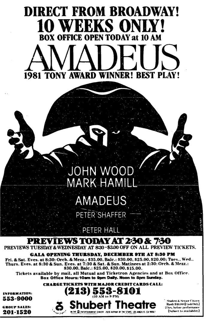 Promotional Ad For The 1982 Premiere Los Angeles Production Of The