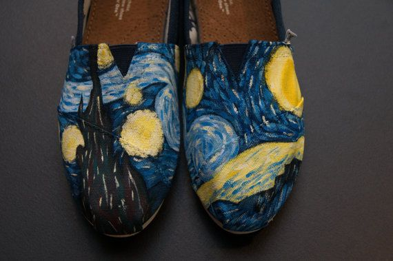 Starry Night Custom Painted Canvas Shoes by WalkingInRoses on Etsy--check out my shop for more custom painted shoes!-Maren Anderson