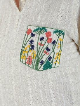 Ivory Collared Handwoven Khadi Kurta with Embroidered Pocket