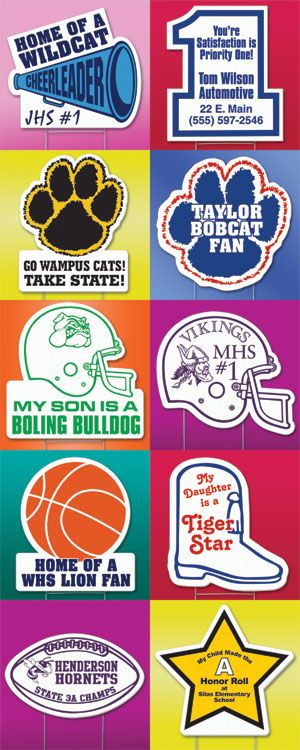 Have you seen people with cool yard signs featuring their school and student? Well now you can have one too! Spirit Accessories offers a variety of signs!