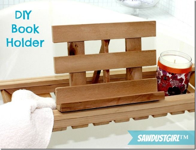 DIY Book Holder for Bath Caddies. I need one!!! I need a bigger bath tub first that I can actually lay out in. lol