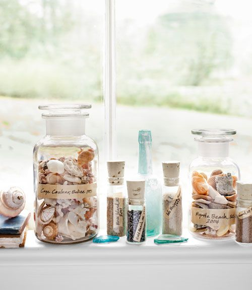 Instant souvenir: Scoop up shells and sand from your summer vacation spot, decant into pretty bottles—like these corked vials and apothecary jars—then add labels.
