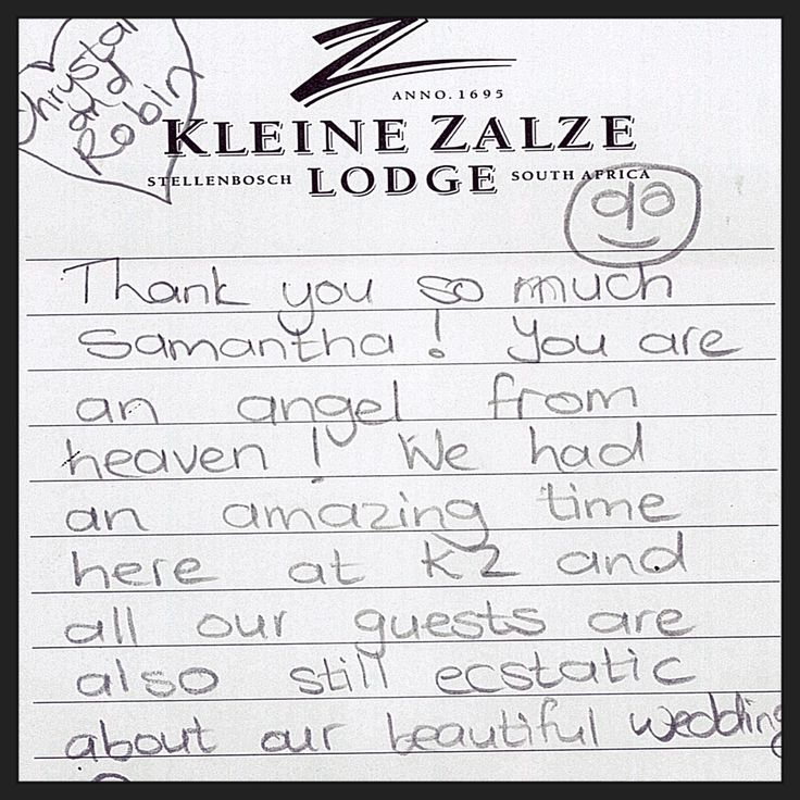 Received this awesome little #ThankYouNote from Chrystal & Robin who got married by us over the weekend.