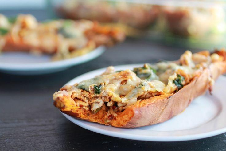Healthy Chipotle Chicken Sweet Potato Skins | halfbakedharvest.com