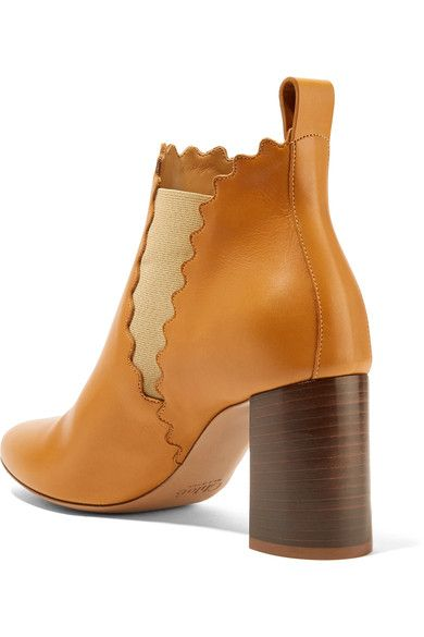Chloé - Scalloped Leather Ankle Boots - Camel - IT37.5