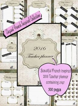 This beautiful Elegant French Inspired 2016 Teacher Planner is a great way to start the year. With over 500 pages of planning material all laid out week by week, term by term. You will be all sorted for the year to come.This download includes:- Beautiful French inspired front cover- Binder dividers for each term with inspirational quotes on each- Individual monthly overviews for all 12 months- Weekly overview complete with 5 days working days- Year planner with all 12 months for easy viewing…
