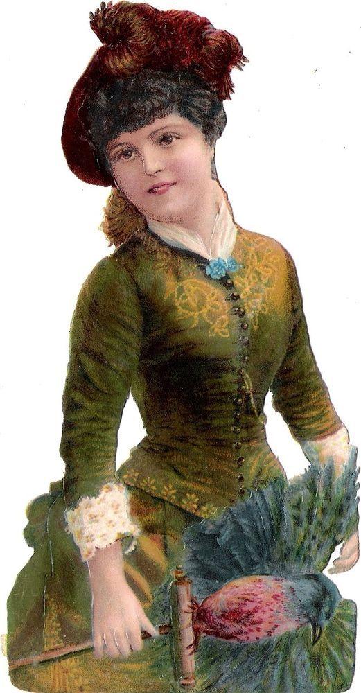 Oblaten Glanzbild scrap die cut chromo Lady Dame femme  16,4 cm  Vogel bird