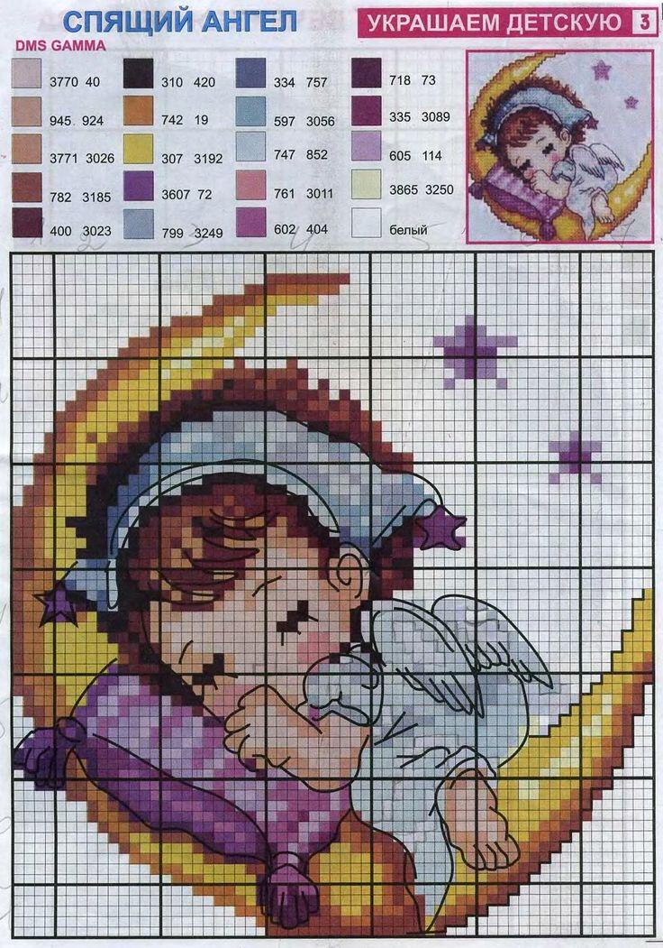 Спящий ангелочек схемы вышивки