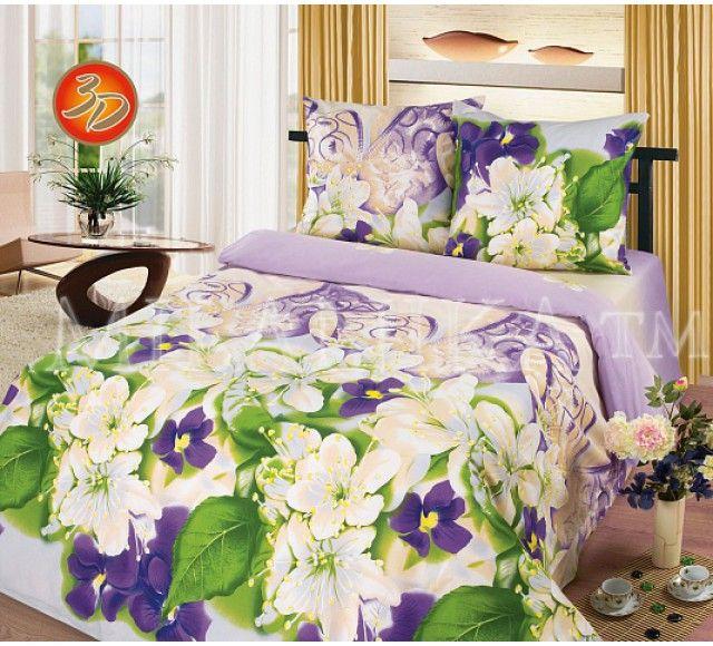 Купить фиолетовый комплект Ивановского постельного белья 3D недорого Миледи
