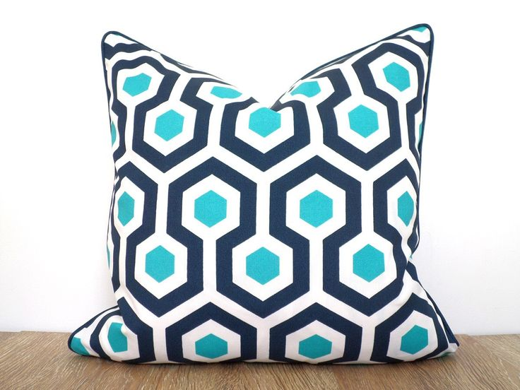 Blue throw pillow cover 18x18 indoor outdoor use, blue and white cushion for outside bench beach house decor, blue and teal outdoor pillow by anitascasa on Etsy https://www.etsy.com/listing/288023111/blue-throw-pillow-cover-18x18-indoor