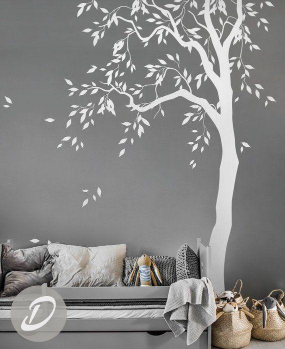 This White Tree Decal Large Nursery Tree Vinyl Wall Art Wall Mural Sticker Kids Room Decor Nature Tree Wall Tattoo A Kid Room Decor Vinyl Wall Tree Wall Murals