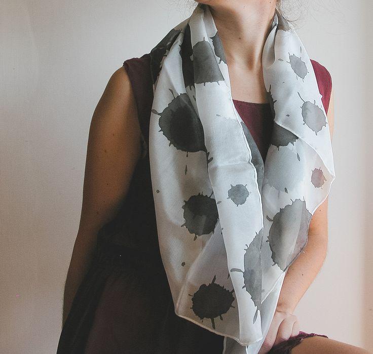 Hand painted silk foulard | black and white scarf | silk square shawl | hand painted silk scarf | b&w scarf | b&w fashion