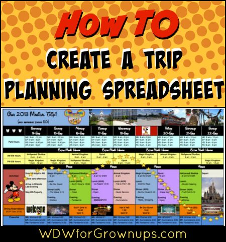 Tips on how to create your own trip planning spreadsheet
