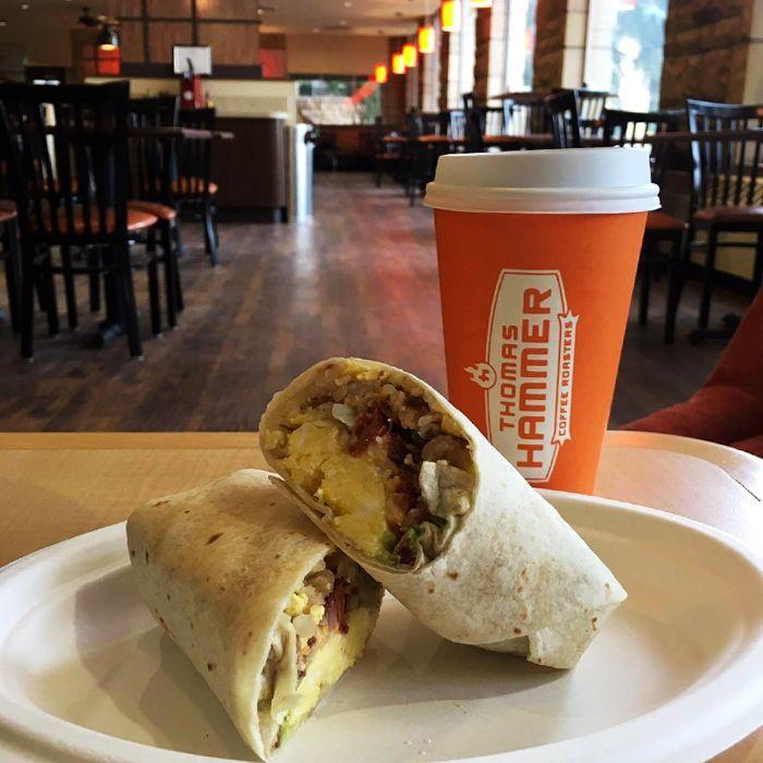 A delicious #breakfast #burrito from Rendezvous! #uwyo #uwyodining #Laramie #Wyoming #college #university