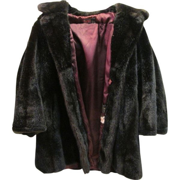 Vintage Tocci Imports Faux Fur Mink Coat Jacket Womens Size 12 Large ❤ liked on Polyvore featuring outerwear, jackets, coats and tops
