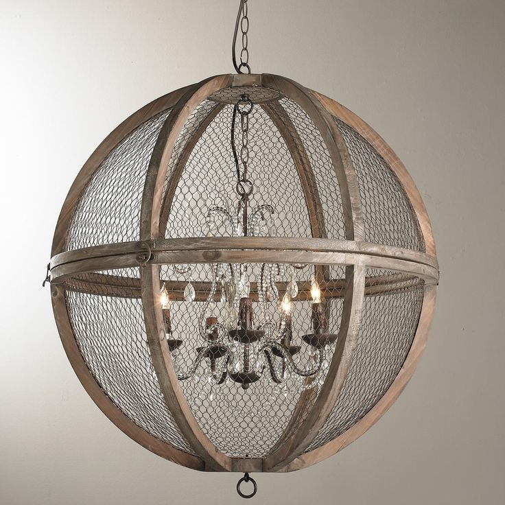 Wire Sphere Crystal Chandelier Large French Minis And