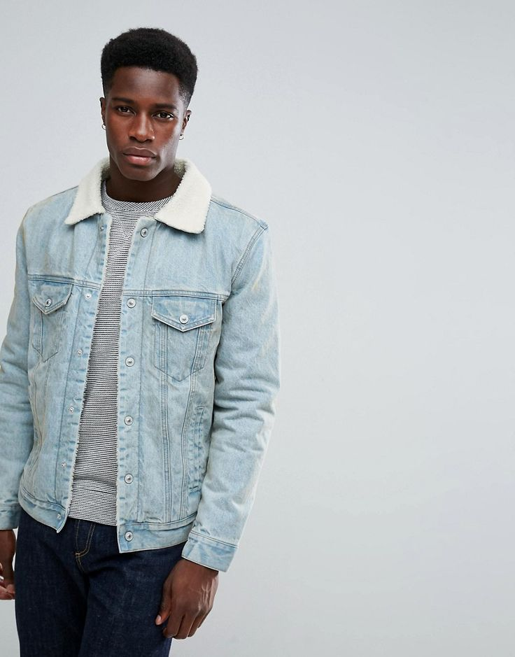 Stradivarius Denim Jacket With Fleece Collar In Light Wash - Blue