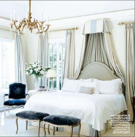 Pale Blue And Cream Silk Corona, Bedskirt, Curtains, Deep Blue Velvet,  Chandelier