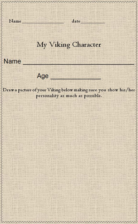 My Viking character - Use this template as part of a creative writing task.