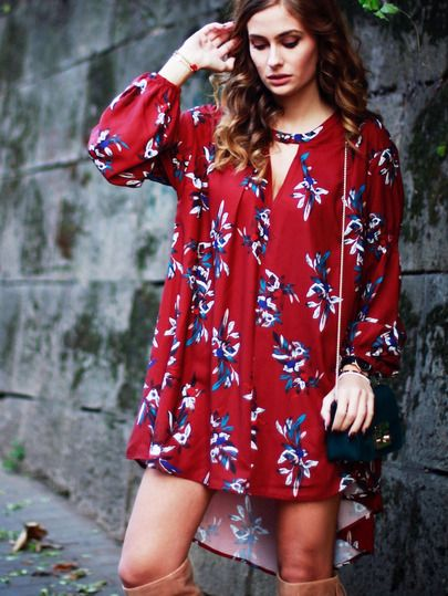 Shop Wine Red Oxblood Baggy Long Sleeve Floral Flowery Dress online. SheIn offers Wine Red Oxblood Baggy Long Sleeve Floral Flowery Dress & more to fit your fashionable needs.