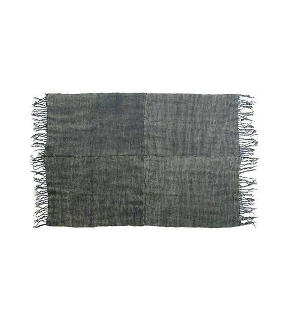 HK-living Vloerkleed linnen stonewashed grijs medium 155x215cm - wonenmetlef.nl