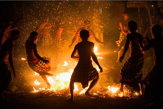 Fire dance, Bali, Indonesia. The dancers so entranced, they are able to dance on hot coals without pain. #PINdonesia