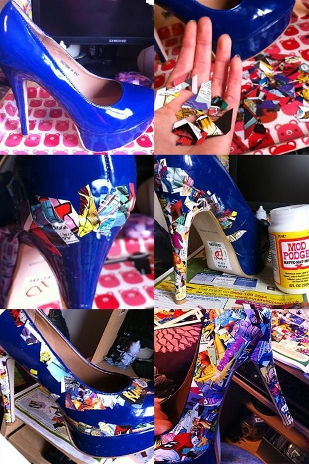 This is a cool way to update an old pair of shoes...and if you are willing a little extra work and care...you can decorate your shoes, wear them...then  clean them off the next day so you can redecorate them to match another outfit next time!! :)