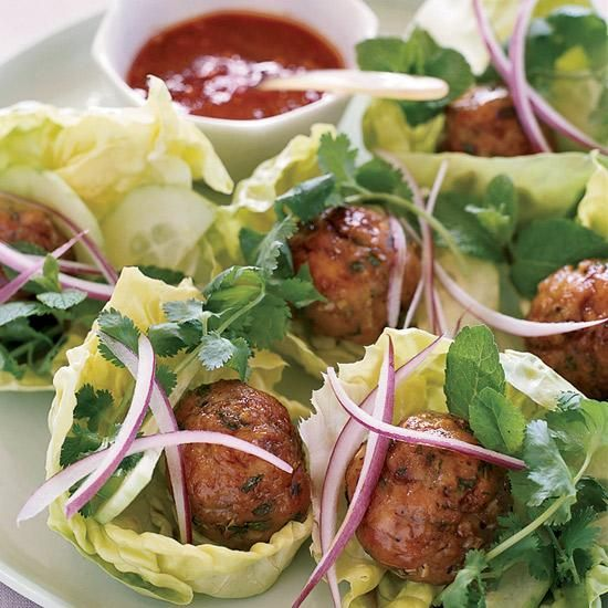 Joyce's Vietnamese Chicken Meatballs in Lettuce Wraps | Jennifer Joyce's party recipes are clever but extremely doable: She gives chicken meatballs a heavenly sticky glaze, for instance, by rolling them in sugar before baking.